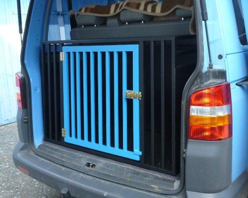 VW- Bus Hundebox T5 Schwarz matt mit hellblauer Tür